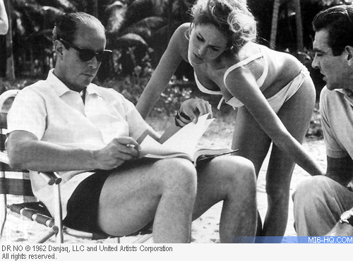 Terence Young on the set of Dr. No