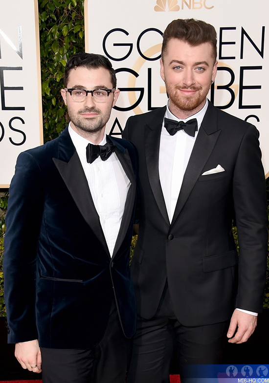 """Sam Smith and Jimmy Napes at the Golden Globes for """"SPECTRE"""""""